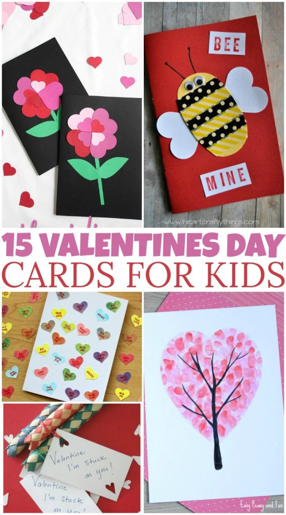 15 DIY Valentine's Day Cards that kids can help with! #DIY #Crafts #ValentinesDay #Holiday #ValentinesCards #ValentinesDayCards #GetCrafty #CraftyMom #WashiTape #HandPrintArt #FingerPrintArt