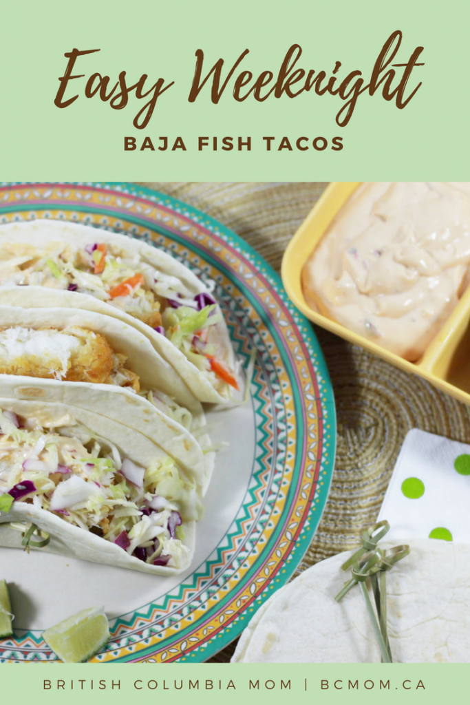 Easy Weeknight Friendly Baja Fish Tacos - using many ingredients you probably already have on hand! #Recipes #Foodie #FishTacos #Mexican #Chipotle
